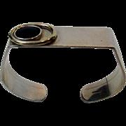 Sterling Silver Modernist Asymmetrical Bracelet with Black Onyx