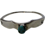 Sterling Taxco Bangle with Turquoise Center