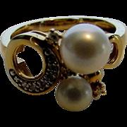 "18 Karat Yellow Gold ""Constellation"" Ring with Akoya Pearls and Diamonds"