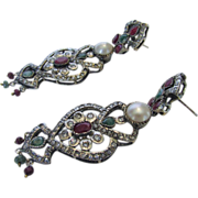 Sterling Silver Mughal Style Earrings Enhanced With Cultured Pearls, Rubies, Emeralds and Mine