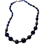 Vintage Faux Sapphire and Faux Ruby Crystal Beads Necklace With Frosted Wedding Cake Accents