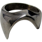 Sterling Silver Modernist Ring Signed Mexico