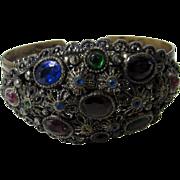 Vintage Bracelet with Jeweled Tone Crystals