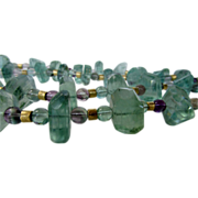 Artisan Carved Natural Fluorite Multi-tone Bead Necklace With Unique Gold Wash Sterling Clasp