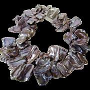 Vintage Keshi Pearls Necklace Huge Cultured In Natural Tones