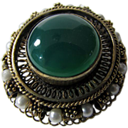 Victorian Pin/Pendant Gold over Silver With Faux Green Onyx and Faux Pearls