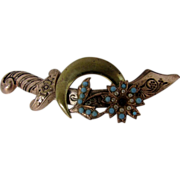 Vintage Coro Brass Sword Pin Enhanced with Faux Turquoise