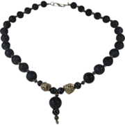 Runway Natural Black Stones Necklace with Silvertone Findings and Nugget Shaped Stone Accents