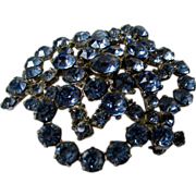 Juliana Light Steel Blue Crystal Pin with Puddling Back