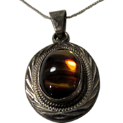 Sterling Silver Cats-eye Pendant on Sterling Chain