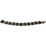 14 Karat Yellow Gold Bracelet With Cultured Pearls Alternating with Gold Scroll Accents