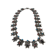 Sterling Silver Taxco Designer Mexican Necklace Enhanced with Turquoise, Coral and Cat's Eye .