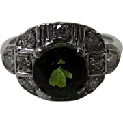 Platinum Diamond and Tourmaline Ring From the 1940's