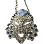 Vintage Tribal Face Pendant on Necklace from the Thirties