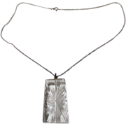 "Vintage Carved Crystal Pendant On 20"" Sterling Chain"