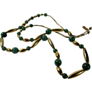"""Vintage Gold Filled 24"""" Necklace with Green Nephrite Jade Beads"""