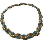 Boucher Mid-Century Goldtone Necklace with Faux Turquoise Bead Accents