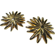 Sterling Silver Bill Schiffer Designer Starburst Goldtone Clip Earrings
