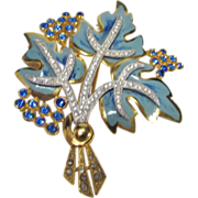 Vintage Enameled Pin Leaf Motif in Blue Hues