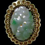 14 Karat Yellow Gold Carved Jadite Ring
