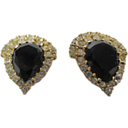 Vintage Ciner Clip Earrings With Faux Onyx and Crystal Surround