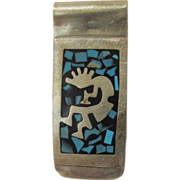 Sterling Silver Money Clip With Inlaid Turquoise Signed Mexico