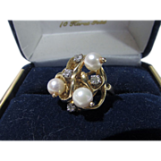 14 Karat Pearl and Diamond Cocktail Ring