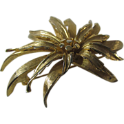Vintage Boucher Signed and Numbered Goldtone Flower Pin