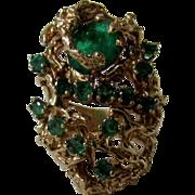 14 Karat Yellow Gold Custom Emerald Ring in Modernist Organic Setting