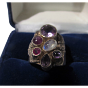 Sajen Sterling Silver Ring with Garnet, Amethyst, Ruby and Moonstone