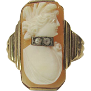 Ten Karat Yellow Gold Deco Cameo Ring With Diamond Necklace