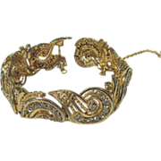 Boucher Mid Century Goldtone Bracelet with Clear Crystals