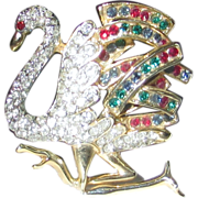 Swarovski Famous Running Flamingo in Clear and Jewel Toned Crystals