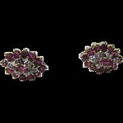 14 Karat Yellow Gold Ruby and Diamond Earrings