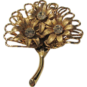 Vintage House of Schrager Bouquet Pin in Goldtone Enhanced with Swarovski Crystals