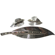 Vintage Boucher Modernist Silver Tone Pin and Earrings Signed and Numbered