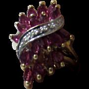 10 Karat Yellow Gold Ruby and Diamond Ring