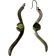 Sterling Silver Brushed Designer Signed Earrings With Peridot Stone Enhancement