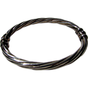 Sterling Silver Twisted 9 inch Oval Bangle with Gold Wash Accents