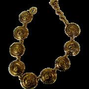 Chanel Vintage Golden Medallion Necklace Signed on Hang Tag
