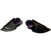 Sterling Silver Designer Amethyst Earrings with Cabochon Amethysts and Gold Filled Accents