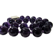 Artisan Amethyst 18 mm Beads with Fabulous Brush Sterling Silver Pendant Enhanced With Iolite