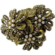 Miriam Haskell Vintage Brooch With Signature Pearls and Floral Motif