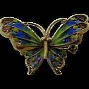 800 Silver Plique a Jour Butterfly