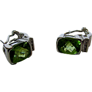 14 Karat White Gold Peridot Earrings Accented With 8 Tiny Diamonds
