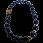 SOLD Artisan Lapis Lazuli Bead Necklace with a 14 Karat Yellow Gold Clasp and 14 Karat Bead Fi