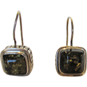 Sterling Silver Lori Bonn Earrings With Green Amber Drops