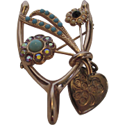 Sterling Silver Coro Gold Wash Wishbone Pin With Dangling Heart and Faux Turquoise Stone and .