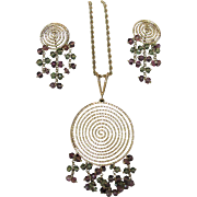 14 Karat Gold Modernist Set With Matching Pendant And Earrings Dripping with Green and Pink ..