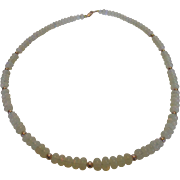 "14 Karat Rose Gold Opal 19"" Long Necklace of Jelly Opal and Rose Gold Ball Findings"